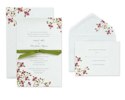 BRIDES Wedding Invitation Kit w Embossed Cherry Blossom New Open Box See - Brides Invitation Kit