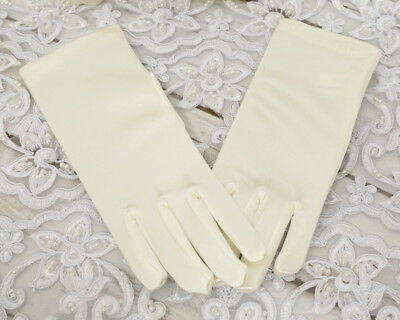 Girls Ivory Tea Party Princess Fairy Costume Dance Satin Wrist Gloves Age - Tea Party Costume
