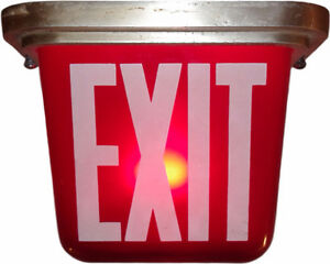 Vintage Kopp Industrial Illuminated Red Glass Exit Sign Light London Ontario image 1