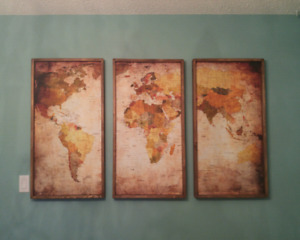 Brand New Condition,  Set Of 3 World Map For Sale.