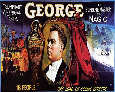 POSTER GEORGE MASTER OF MAGIC MUMMY TUMB AMERICAN TOUR VINTAGE REPRO FREE (Magic Vintage Poster)