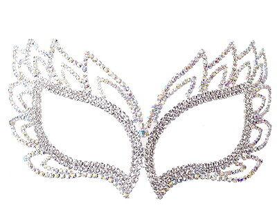 (Silver AB Crystal Rhinestone Quinceanera Mardi Gras Masquerade Mask Wedding)