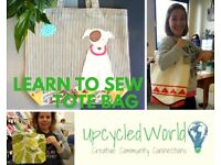 Learn How to Sew - Make a Tote Bag! Join us tomorrow :)