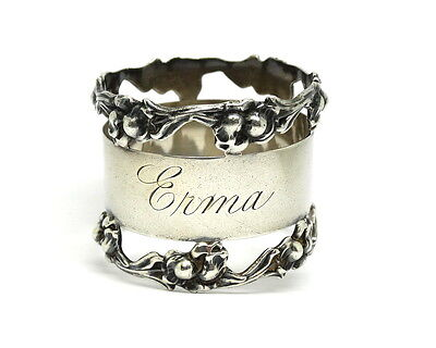 """Antique """"Erma"""" NATIONAL SILVER CO NSCo NAPKIN RING Sterling Silver Holder #7"""