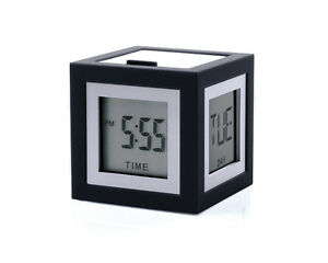 LEXON CUBISSIMO BLACK DIGITAL BEDSIDE ALARM CLOCK NEW