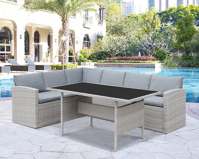 Garden Furniture - Rattan Garden Furniture Light Grey Outdoor Patio Dining Set Corner L-Shaped Sofa
