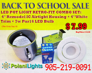 POT LIGHT 4INCH IC HOUSING+WHITE TRIM+7W PAR16 LED BULB $7.99