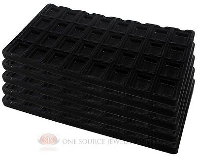 5 Black Insert Tray Liners W 32 Compartment Earrings Organizer Jewelry Display