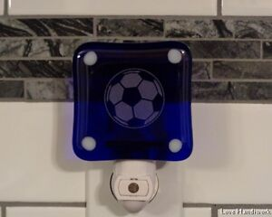 Soccer Ball Etched Fused Glass Night Light