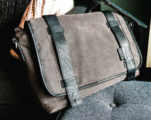 Leather and Canvas grey messenger bag, fits 13in laptops