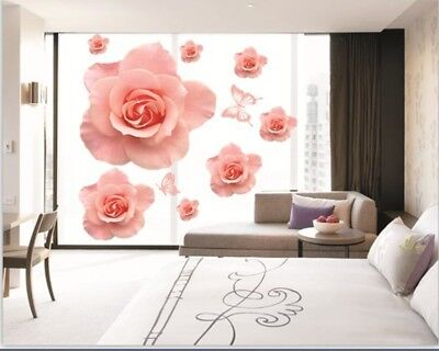 Details Pink Rose Flowers Wall Sticker Decal Vinyl Art Home Decor Removeable SY