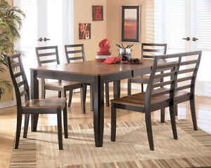 BUTTERFLY DINING TABLE - 4 SIDE CHAIRS & BENCH SEAT