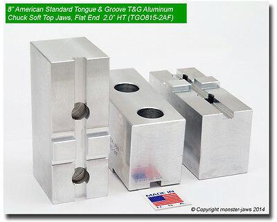8 American Standard Tongue Groove Aluminum Chuck Soft Jaws Flat End 2.0 Ht