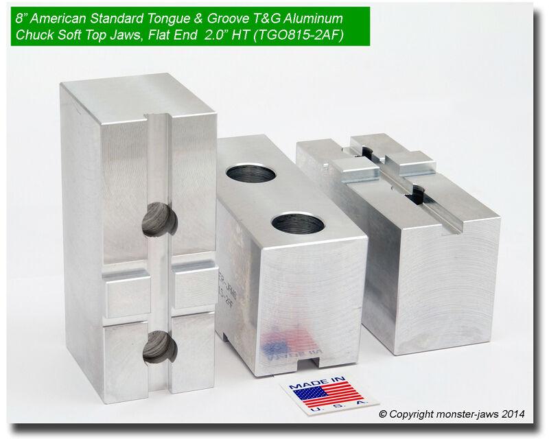 "8"" American Standard Tongue & Groove Aluminum Chuck Soft Jaws FLAT END (2.0"" HT)"