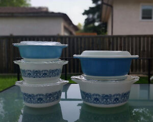 Vintage Pyrex 'Horizon Blue' Casseroles 10 Piece Set 1969-1971