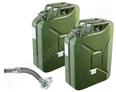 2x 20 Liter 20L Dieselkanister Benzinkanister Metallkanister mit 1x Ausgiesser