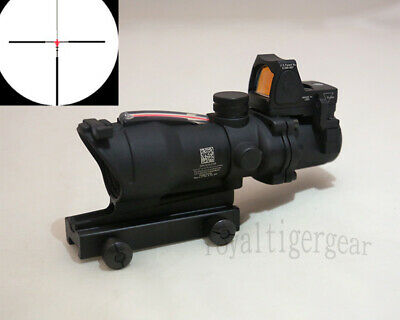 ACOG 4x32 Rifle Scope Red Illuminated Optic Fiber w Red Dot Sight - Black