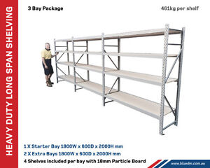 Long Span Shelving 2M H X 600mm D X 5.4M Wide (4 Levels) Kewdale Belmont Area Preview