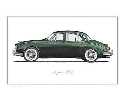 Jaguar Mk2 (green) - Limited Edition Classic Car Print Poster by Steve Dunn , usado segunda mano  Embacar hacia Spain