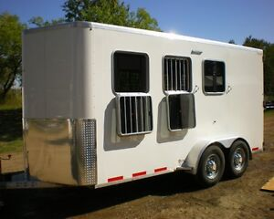 ALL ALUMINUM KIEFER 3 HORSE BUMPER PULL WITH DRESSING ROOM