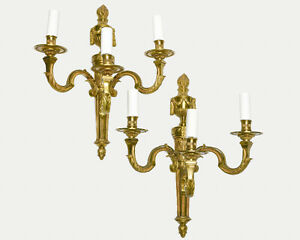 Pair of French Vintage Bronze Sconces Leaves & Empire Style