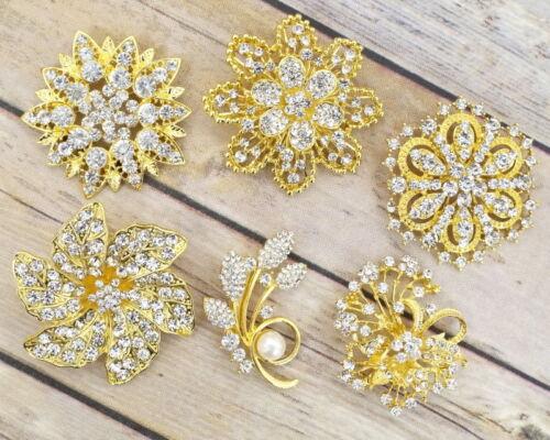 6 Large Gold Rhinestone Crystal Pearl Pin Brooch Lot Wedding Bouquet DIY
