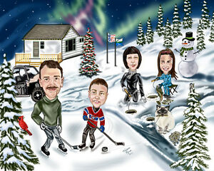 One of a kind Christmas Caricatures,Retirement,Birthday etc