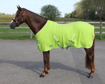 QHP  Deken fleece color met singels Lime 165