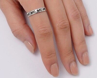 Footprints Band Ring Sterling Silver Rhodium Plated Jewelry Size Selectable