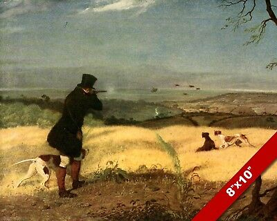 BIRD HUNTING IN A TOP HAT WITH HIS DOGS DOG ART PAINTING PRINT ON REAL CANVAS