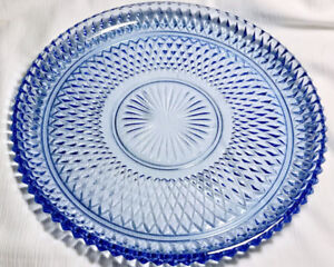 Ice Blue Indiana Glass Cake Plate 1950's/60's