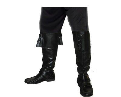 Smi - Karneval Kostüm Zubehör Piraten Schuh Überzieher Deluxe - Schwarze Piraten Kostüm Schuhe