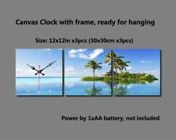 Canvas Printing Pictures with Clock 3 PCS a Set - The Lake Island Tree - FBZ0006