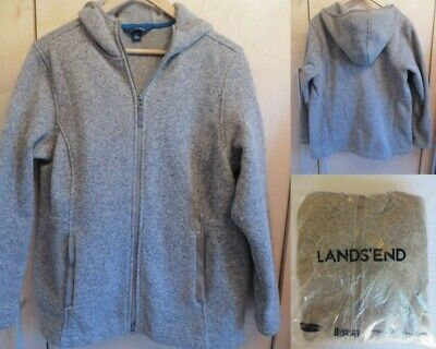 $89 NWT Lands End Womens Petite 200 Fleece Sweater Jacket Hooded L - 200 Fleece Hooded Jacket