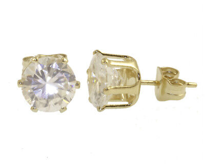 18K Gold Plated Cz Stud Solitaire Earrings - Choose Size - LIFETIME WARRANTY