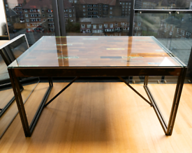 Upcycled Wooden Table with Tempered Glass Top and Metal Legs