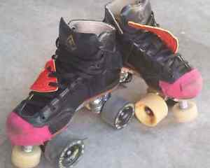 Antik roller derby skates,pads and lots of extras
