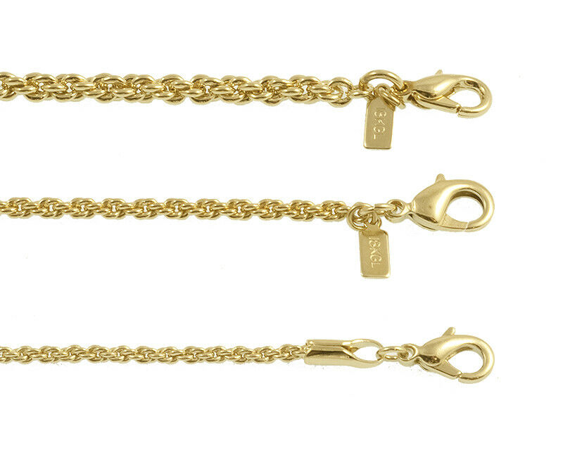 New 18K Gold Plated Fancy Rope Chain Necklace Or Bracelet - LIFETIME WARRANTY