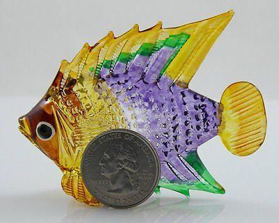 Glass Figurine Fish Tropical Handpainted dark Purple/yellow Approx 2.9 inch - Tropical Fish Figurines