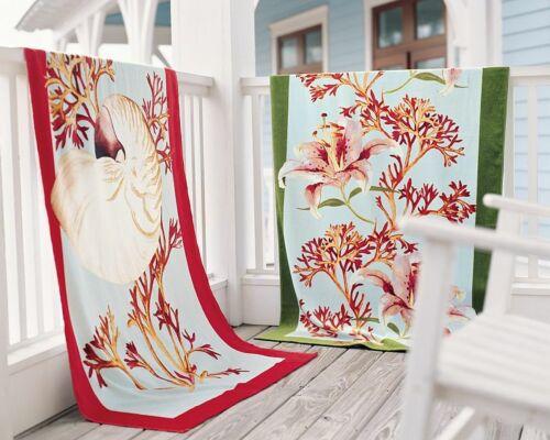 """Pottery Barn Green Captiva Lily Beach Towel ~ 40"""" x 72"""""""