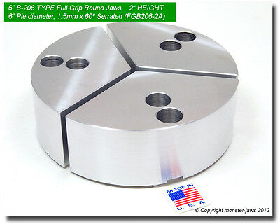6 Full Grip Round Jaws Aluminum For B-206 Lathe Chucks 2 Ht 6 Pie Diameter