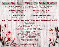 SEEKING VENDORS FOR OUR NEXT 4 AMAZING SHOWS!!