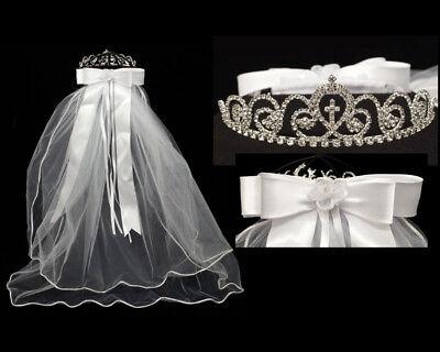 First Communion Veils Headpieces (Girls 1st First Communion Veil Rhinestone Tiara Headpiece Crown Primera)