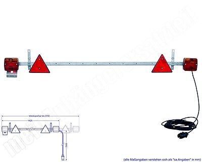 Beleuchtungsträger Anhänger Beleuchtung Lichtleiste ausziehbar 1,4 - 2,1m 12V 7m
