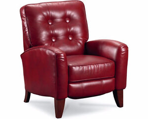 Two red Genuine Leather push back recliners
