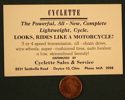 1940-50s Dayton Ohio Weaver Cyclette lightweight Motorcycle business card-RARE!