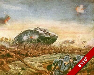 BRITISH TANKS ON GERMANS WWI WORLD WAR 1 MILITARY ART PAINTING REAL CANVAS PRINT