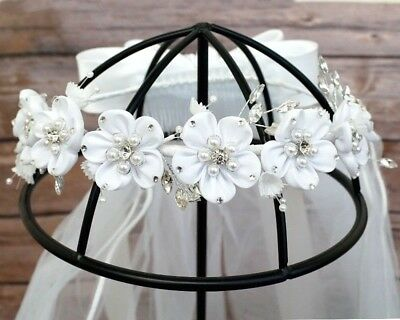 Girls First Holy Communion Flower Wreath Crown Headpiece Veil Primera Comunion](First Communion Headpieces)