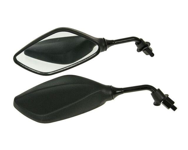 Mirror Set Rhombus black for scooter Quad ATV mit M8 Right-hand thread