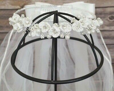 First Communion Veils Headpieces (Girls First Communion Flower Wreath Head Piece Crown Edge Veil Primera)